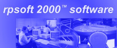 rpsoft 2000 logo with picture of productivity, music, and blackjack