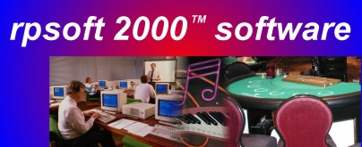 rpsoft 2000 logo, showing computers, music and a blackjack table