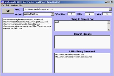 picture showing rpsoft 2000 site-crawler software screen for link checking applications