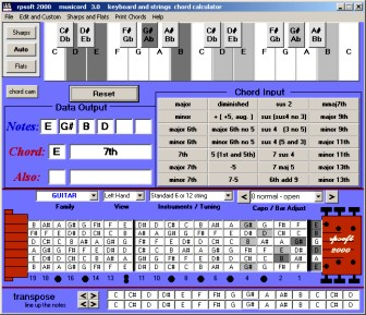 screen shot of musicord software showing left handed guitar